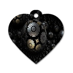 Fractal Sphere Steel 3d Structures Dog Tag Heart (One Side)