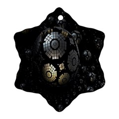 Fractal Sphere Steel 3d Structures Snowflake Ornament (two Sides)