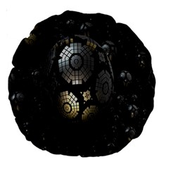 Fractal Sphere Steel 3d Structures Large 18  Premium Round Cushions