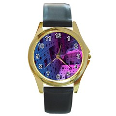 Fractals Geometry Graphic Round Gold Metal Watch