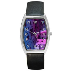 Fractals Geometry Graphic Barrel Style Metal Watch
