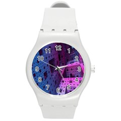 Fractals Geometry Graphic Round Plastic Sport Watch (m)
