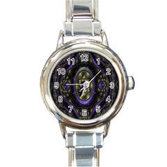 Fractal Sparkling Purple Abstract Round Italian Charm Watch