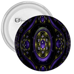 Fractal Sparkling Purple Abstract 3  Buttons