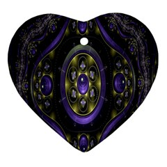 Fractal Sparkling Purple Abstract Ornament (Heart)
