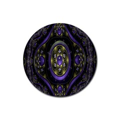 Fractal Sparkling Purple Abstract Rubber Round Coaster (4 pack)