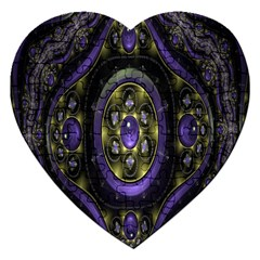 Fractal Sparkling Purple Abstract Jigsaw Puzzle (heart)