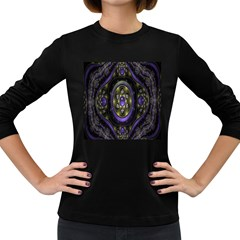 Fractal Sparkling Purple Abstract Women s Long Sleeve Dark T-Shirts