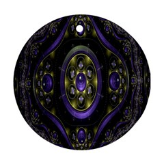 Fractal Sparkling Purple Abstract Round Ornament (Two Sides)