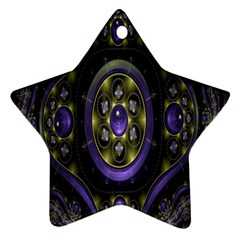 Fractal Sparkling Purple Abstract Star Ornament (two Sides)
