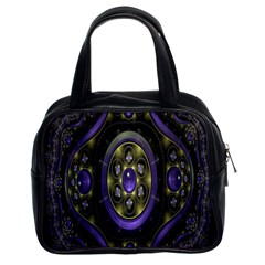 Fractal Sparkling Purple Abstract Classic Handbags (2 Sides)