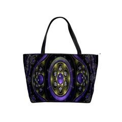 Fractal Sparkling Purple Abstract Shoulder Handbags
