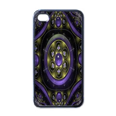 Fractal Sparkling Purple Abstract Apple iPhone 4 Case (Black)