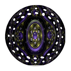 Fractal Sparkling Purple Abstract Round Filigree Ornament (Two Sides)