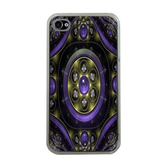 Fractal Sparkling Purple Abstract Apple iPhone 4 Case (Clear)