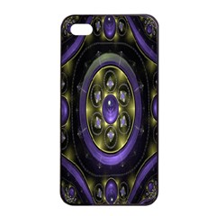 Fractal Sparkling Purple Abstract Apple iPhone 4/4s Seamless Case (Black)