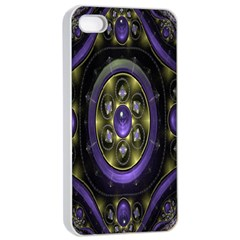 Fractal Sparkling Purple Abstract Apple iPhone 4/4s Seamless Case (White)
