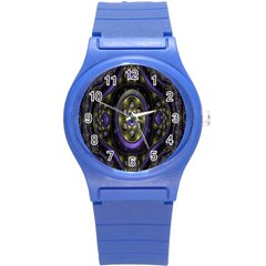 Fractal Sparkling Purple Abstract Round Plastic Sport Watch (s)