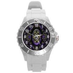 Fractal Sparkling Purple Abstract Round Plastic Sport Watch (L)