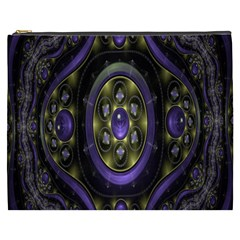 Fractal Sparkling Purple Abstract Cosmetic Bag (xxxl)