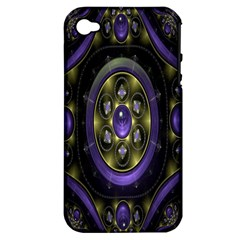 Fractal Sparkling Purple Abstract Apple iPhone 4/4S Hardshell Case (PC+Silicone)