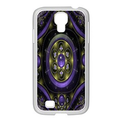 Fractal Sparkling Purple Abstract Samsung GALAXY S4 I9500/ I9505 Case (White)