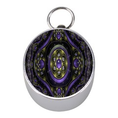 Fractal Sparkling Purple Abstract Mini Silver Compasses