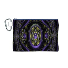 Fractal Sparkling Purple Abstract Canvas Cosmetic Bag (M)