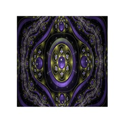 Fractal Sparkling Purple Abstract Small Satin Scarf (Square)