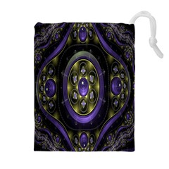 Fractal Sparkling Purple Abstract Drawstring Pouches (Extra Large)