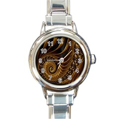 Fractal Spiral Endless Mathematics Round Italian Charm Watch