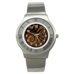 Fractal Spiral Endless Mathematics Stainless Steel Watch