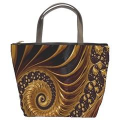 Fractal Spiral Endless Mathematics Bucket Bags