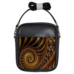 Fractal Spiral Endless Mathematics Girls Sling Bags