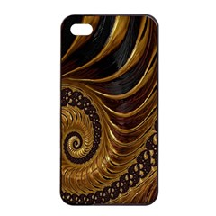 Fractal Spiral Endless Mathematics Apple iPhone 4/4s Seamless Case (Black)