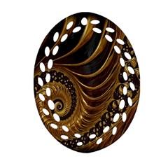 Fractal Spiral Endless Mathematics Oval Filigree Ornament (Two Sides)