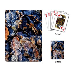 Frost Leaves Winter Park Morning Playing Card