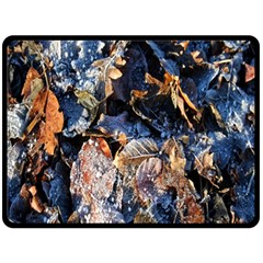 Frost Leaves Winter Park Morning Double Sided Fleece Blanket (Large)