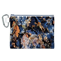 Frost Leaves Winter Park Morning Canvas Cosmetic Bag (L)