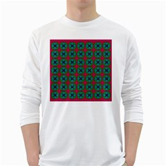 Geometric Patterns White Long Sleeve T-Shirts