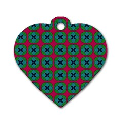 Geometric Patterns Dog Tag Heart (One Side)