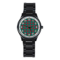Geometric Patterns Stainless Steel Round Watch