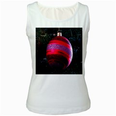 Glass Ball Decorated Beautiful Red Women s White Tank Top