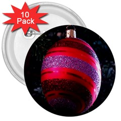 Glass Ball Decorated Beautiful Red 3  Buttons (10 pack)