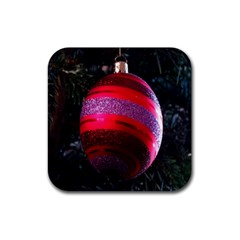 Glass Ball Decorated Beautiful Red Rubber Square Coaster (4 pack)