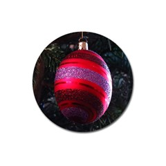 Glass Ball Decorated Beautiful Red Magnet 3  (Round)