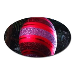Glass Ball Decorated Beautiful Red Oval Magnet