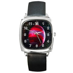 Glass Ball Decorated Beautiful Red Square Metal Watch