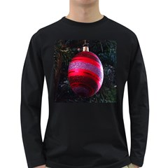 Glass Ball Decorated Beautiful Red Long Sleeve Dark T-Shirts