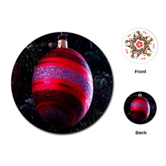 Glass Ball Decorated Beautiful Red Playing Cards (Round)